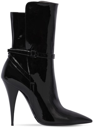 Saint Laurent 110mm Kiki Patent Leather Ankle Boots