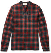 Gucci Slim-fit Neck-tie Checked Wool And Cotton-blend Flannel Shirt