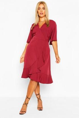 boohoo Plus Woven Ruffle Wrap Dress