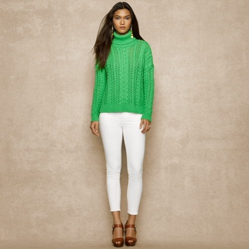 Ralph Lauren Blue Label Aran-Knit Cotton Turtleneck