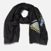 Kenzo Icons Jaquard Fil Coupe Scarf Black