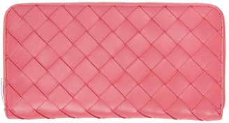 Bottega Veneta Pink Intrecciato Zip-Around Wallet