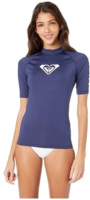 Roxy Whole Hearted Short Sleeve Rashguard (Anthracite) Women's Swimwear
