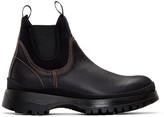 Prada Black Leather and Neoprene Chelsea Boots