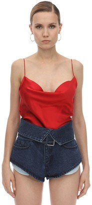 Marques Almeida Draped Silk Satin Slip Top