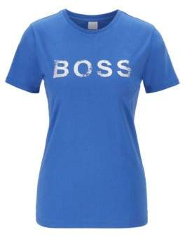 BOSS Crew-neck T-shirt in cotton with foil-print logo