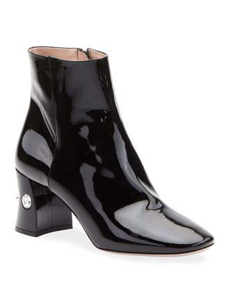 Miu Miu Crystal-Heel Patent Leather Ankle Booties