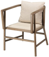 Jamie Young Co Grayson Arm Chair, Gray Wood and Off White Linen
