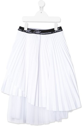 Miss Blumarine Asymmetric Pleated Skirt