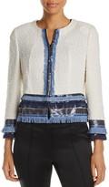 Basler Cropped Sequin Fringe Jacket