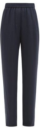Valentino V-logo Jacquard Crepe Trousers - Womens - Navy