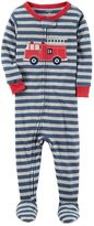 Carter's Baby Boy Embroidered Striped Footed Pajamas