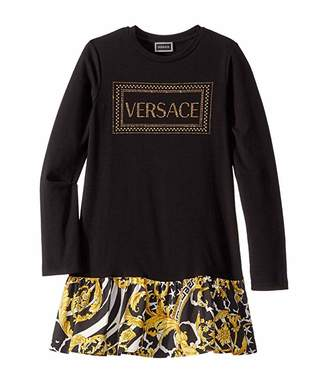 Versace Kids Long Sleeve Dress with Logo and Barocco Skirt (Big Kids)