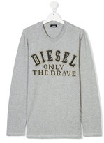 Diesel Teen only the brave embroidered T-shirt