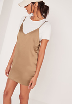 Missguided Satin 2-In-1 Dress Gold