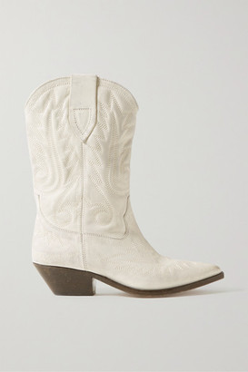 Isabel Marant Duerto Embroidered Leather Boots - Off-white