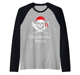 Oklahoma Pirate Skull And Crossbones Flag State Pride Raglan Baseball Tee