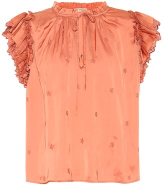 Ulla Johnson Myra embroidered satin top