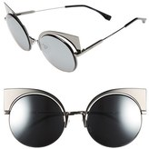 Fendi Women's 53Mm Round Cat Eye Sunglasses - Dark Ruthenium