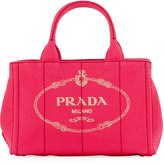 Prada Fabric Logo Stitch Satchel Bag, Pink