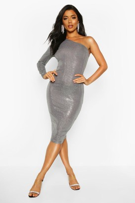 boohoo Sequin One Shoulder Midi Dress