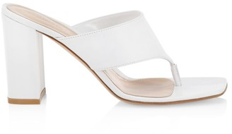 Gianvito Rossi Leather Block Heel Thong Sandals