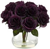 Nearly Natural Purple Rose Arrangement with Vase
