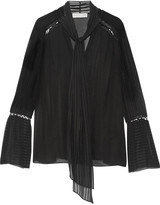 Rachel Zoe Laurie pussy-bow embroidered silk-chiffon blouse