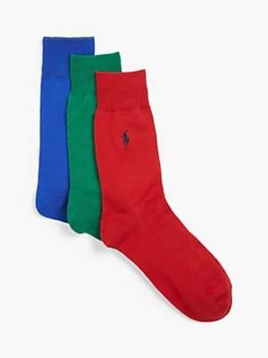 Ralph Lauren Polo Mercerised Stretch Cotton Socks, Pack of 3
