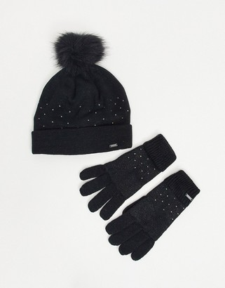 Dare 2b Dare2b X Swarovski Embellished Bejewel hat and glove set in black