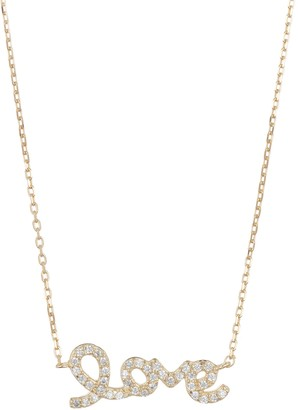 ADORNIA 14K Yellow Gold Plated Sterling Silver Swarovski Crystal Cursive Love Necklace