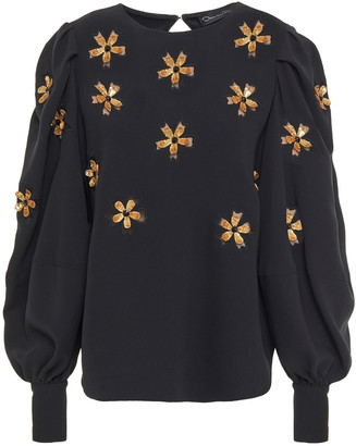 Oscar de la Renta Embellished Silk-blend Crepe Top