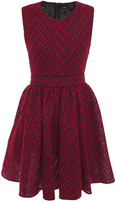 Maje Flared Embroidered Mesh Mini Dress