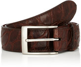 Barneys New York Men's Alligator Belt-BROWN
