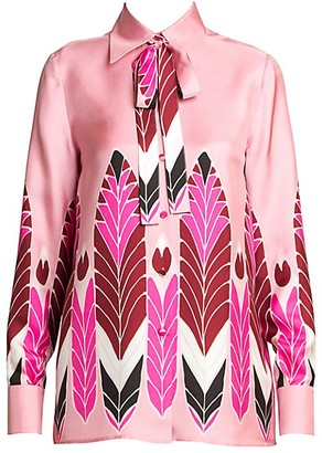 Valentino Pop Feather Silk Tieneck Blouse