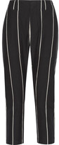 Brunello Cucinelli Cropped Striped Cotton Skinny Pants - Black