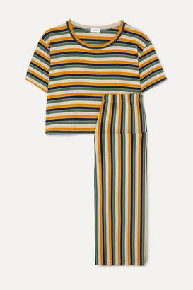 Leset LESET - Harley Striped Stretch-jersey Top And Pants Set - Yellow