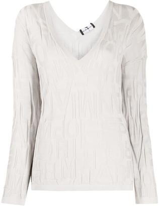 Emporio Armani textured logo V-neck jumper