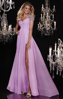 Panoply - Sparkling Beaded Capped Sleeves Gathered Bodice Evening Gown 14763