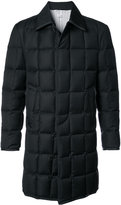 Thom Browne Downfilled Classic Bal Collar Overcoat With Grosgrain Tipping In Black Super 130's Wool Twill