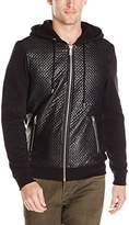 GUESS Men's Roy Chevron Quilted Hoody Sweatshirt