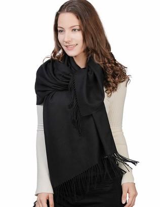Fancet Ladies 100% Wool Scarf Women Scarves and Wraps Long Scottish Shawls Soft Warm Fashionable Tassel Finishing Winter Autumn Black