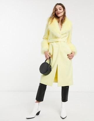 Topshop midi coat with faux fur collar in lemon-Yellow