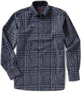 Visconti Plaid Flocking Long-Sleeve Woven Shirt