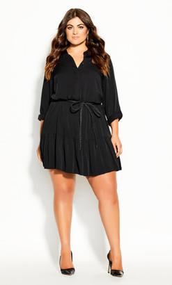 City Chic Take Me Out Dress - black