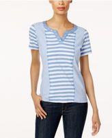 Alfred Dunner Long Weekend Spliced Striped Top