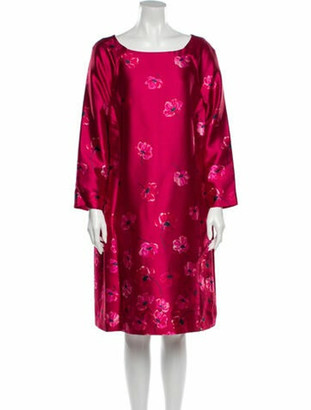 Oscar de la Renta Floral Print Knee-Length Dress Pink