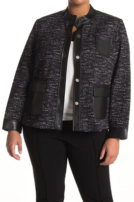 Calvin Klein Tweed Faux Leather Patch Pocket Jacket