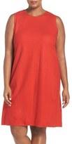 Eileen Fisher Wool Jersey Round Neck Shift Dress (Plus Size)