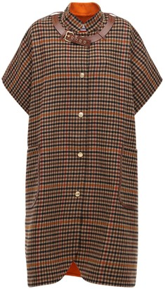 Burberry Wool Check Cape W/ Leather Details